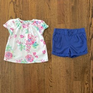 OshKosh B'Gosh Floral Top & Pleated Twill Shorts